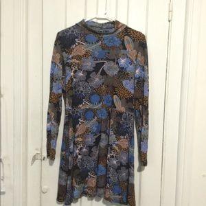 Short floral turtleneck dress